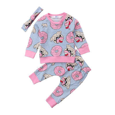 db6980450 3pcs Baby Clothing Sweet Newborn Baby Girl Outfit Clothes Pugs ...