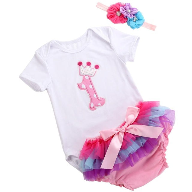 cf1663d6f1 Unicorn Crown infant baby girl clothing set bodysuit Short summer Princess newborn  baby girl clothes bebe costume first birthday