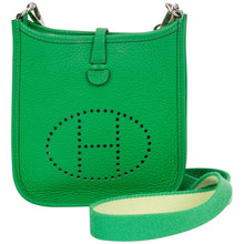 Load image into Gallery viewer, HERMÈS Mint Mini Evelyne Bamboo Bag