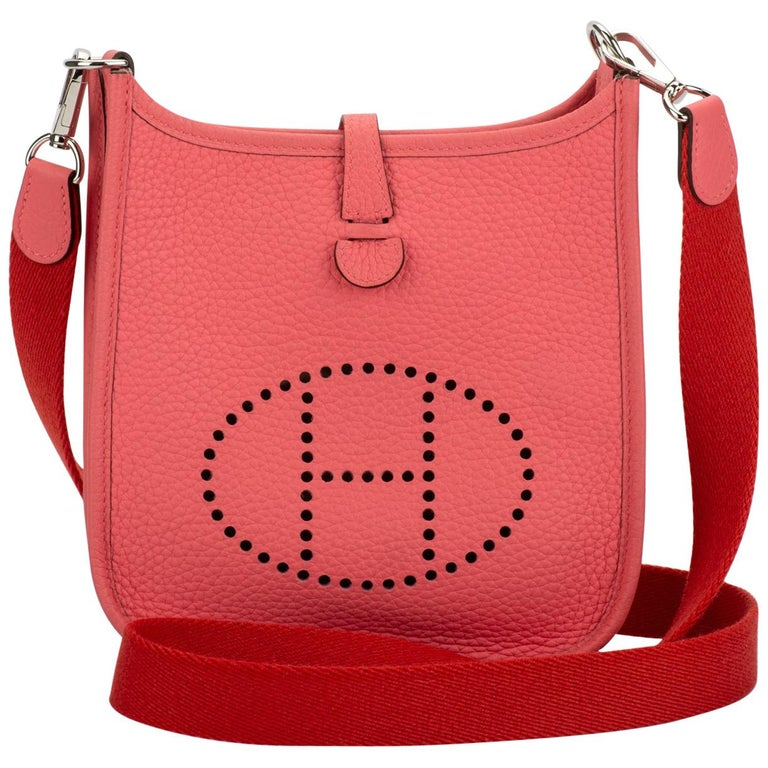 HERMÈS Mini Evelyne Rose Azalee Crossbody Bag