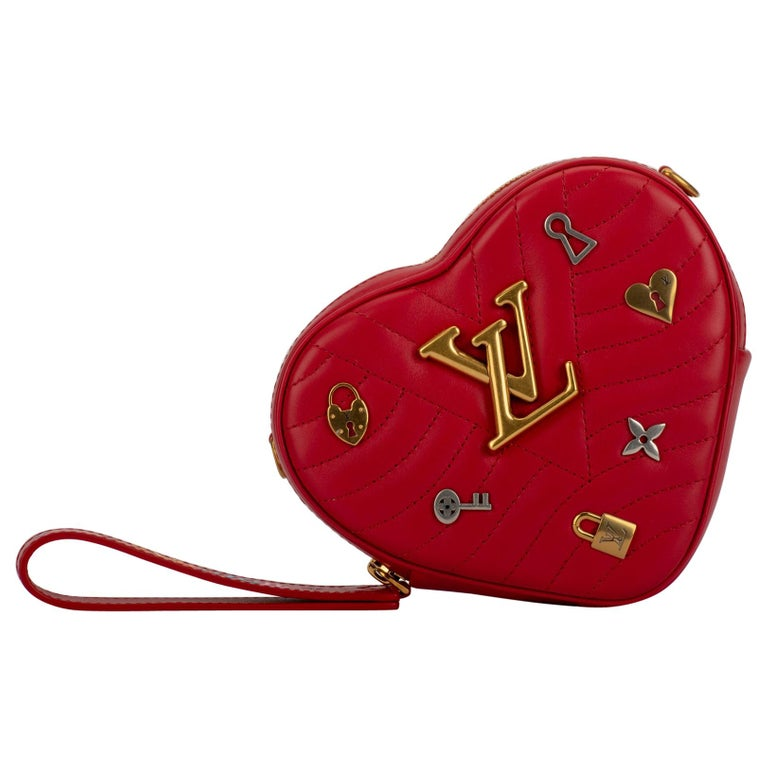 LOUIS VUITTON Limited Edition Red Heart Charm Crossbody Bag