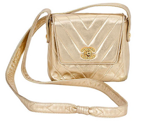 CHANEL Gold Chevron Evening Bag