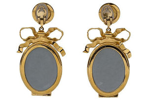 CHANEL Book-Piece Mirror Dangle Earrings
