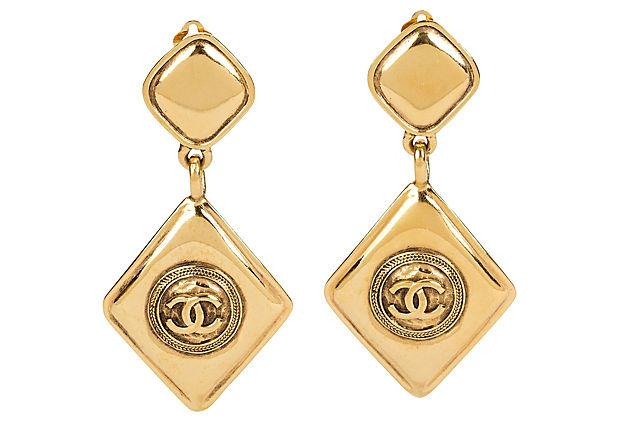 CHANEL 1980s Diamond-Shaped Earrings