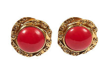 Load image into Gallery viewer, CHANEL Red Gripoix Earrings