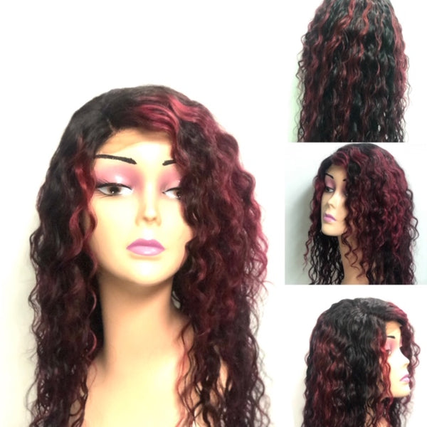 Desire  22 inch Brazilian Deep Wave Wig  With Burgundy Highlights