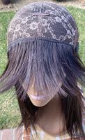 Donna- Natural Black Human Hair Wig with Bangs 20 inches
