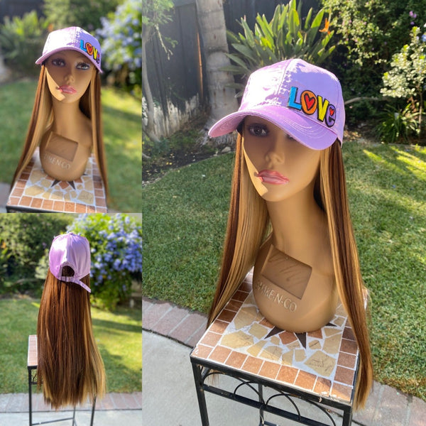 Satin Baller Cap with 2 Tone Synthetic Hair