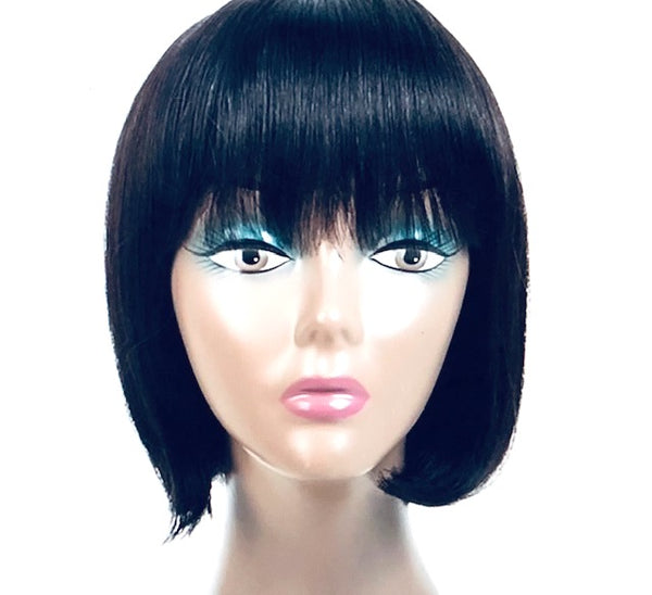 Sophie     10 inch Human Hair Bob Jet Black with bangs