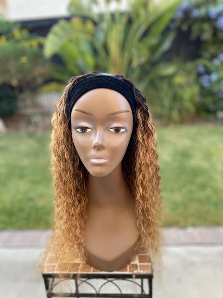 Blonde Ombre Curly  Headband Wig  18 inches