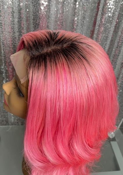Candi 14 inch Pastel Pink Bob Free Part 4x4 closure