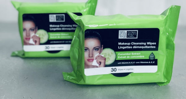 60ct Global Beauty Cucumber Extract MakeUp Cleansing  Wipes