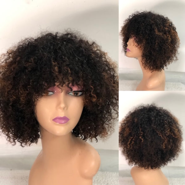 Joy 10 inch Kinky Curly Wig  Ombre Black & Brown