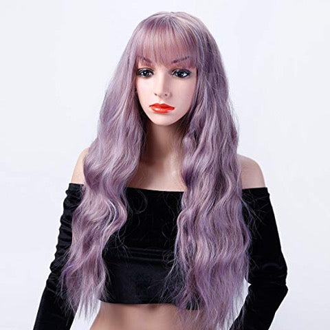 JANET   26 inch Long Wavy Wig with Bangs