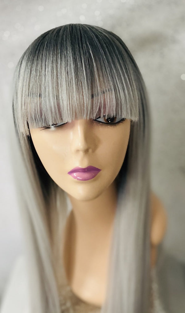 22 Inch White & Gray Ombre Synthetic Wig with Bangs