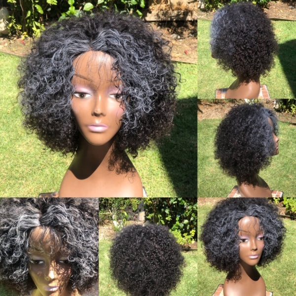 Misha  12 inch kinky curly  free part lace closure afro wig natural black