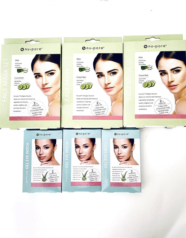 NUPORE FACE MASK 4pk + 2pk Aloe Gel Eye Patch