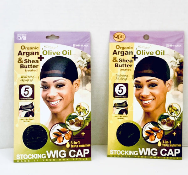 Qfitt Organic Argan & Shea Butter + Olive Oil Stocking Wig Cap 10ct-2pack