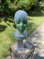 Shimmer 8inch Green Iridescent Bling Wig Head
