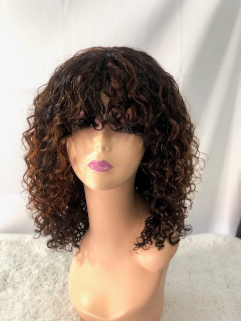 TRACY 16 inch Human Deep Wave Wig    ( no lace closure)