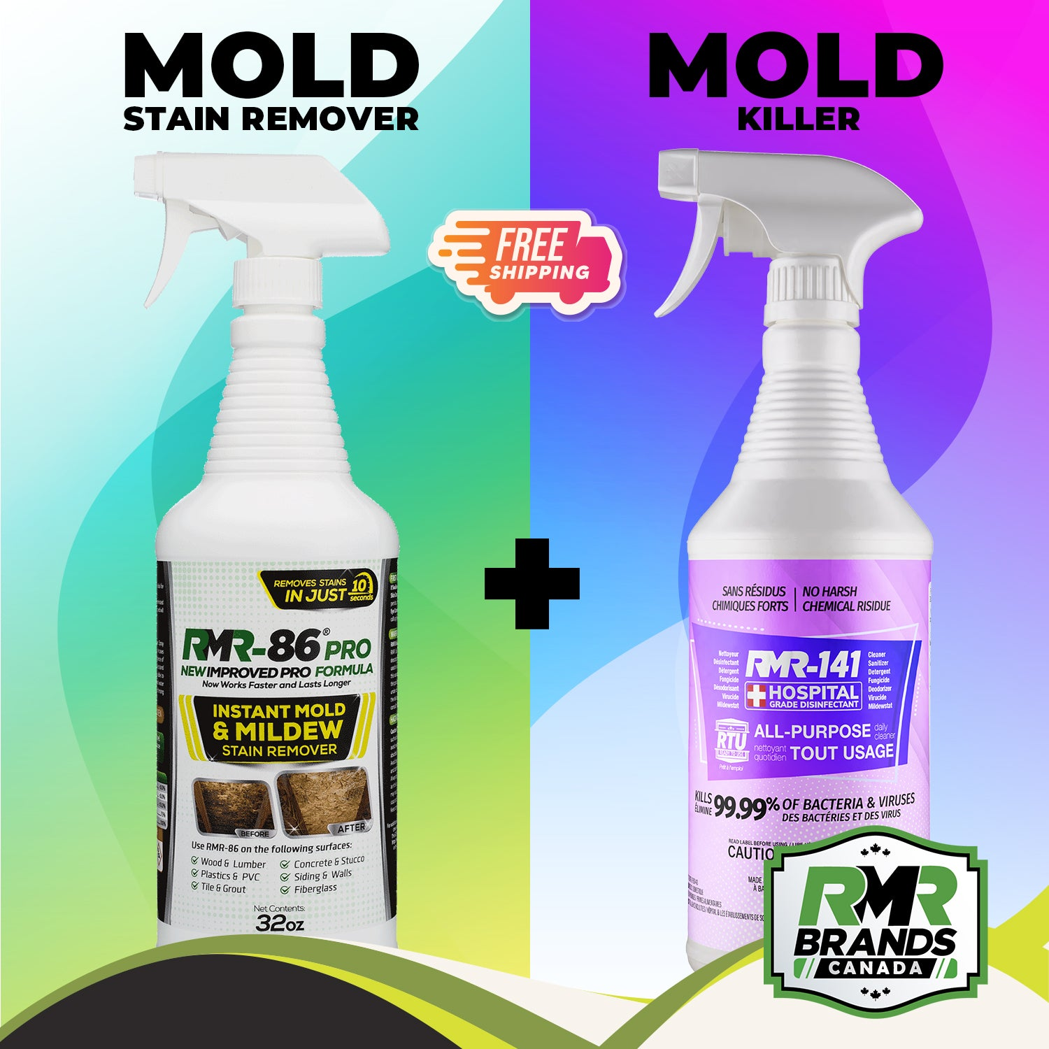 RMR 86 Pro & RMR 141 RTU Combo | Mold Stain Remover and Mold Killer - Easy to use just spray and walk away (32oz / each)