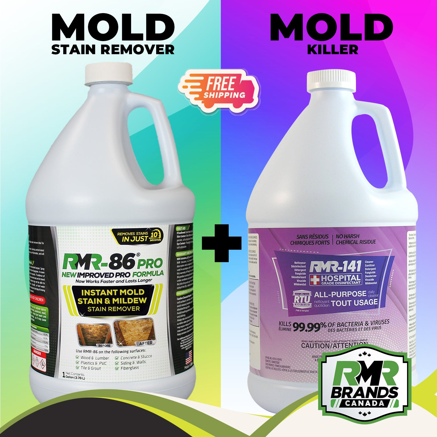 RMR 86 Pro & RMR 141 RTU Combo | Mold Stain Remover and Mold Killer - Easy to use just spray and walk away (1 gallon / each)