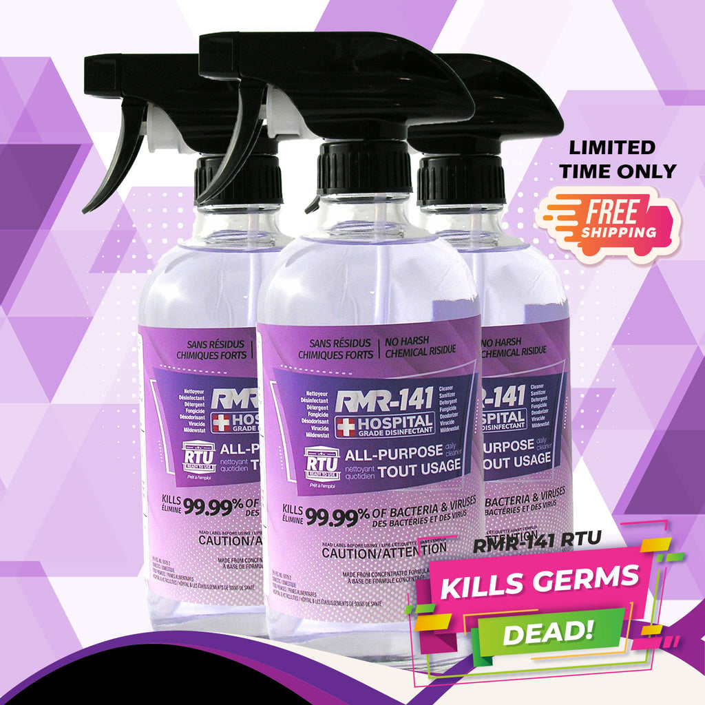 RMR-141 RTU Disinfectant Spray Destroys 142 Sickness-Inducing Germs (3 x Glass Spray Bottle - 16 oz each)