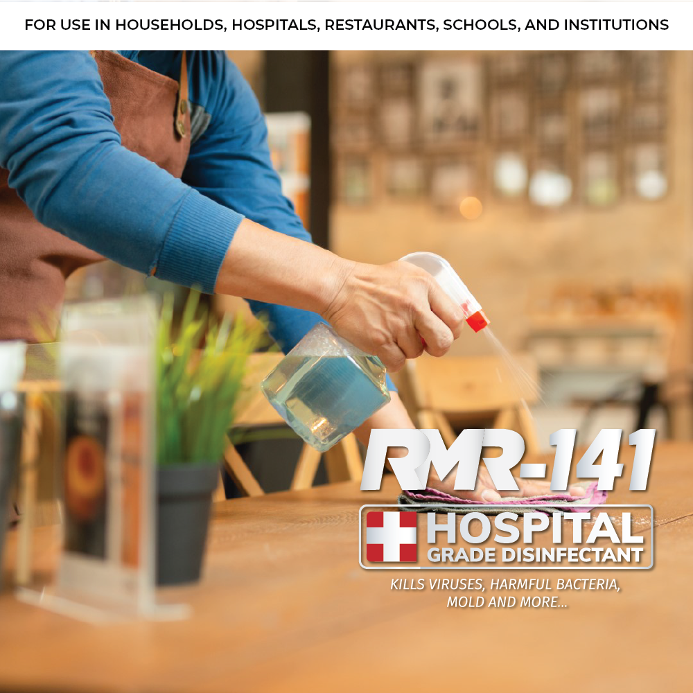 RMR-141 RTU Hospital Grade Disinfectant Kills Over 140 Harmful Microbes including Human Coronavirus (3 x Glass Spray Bottle - 16 oz each)