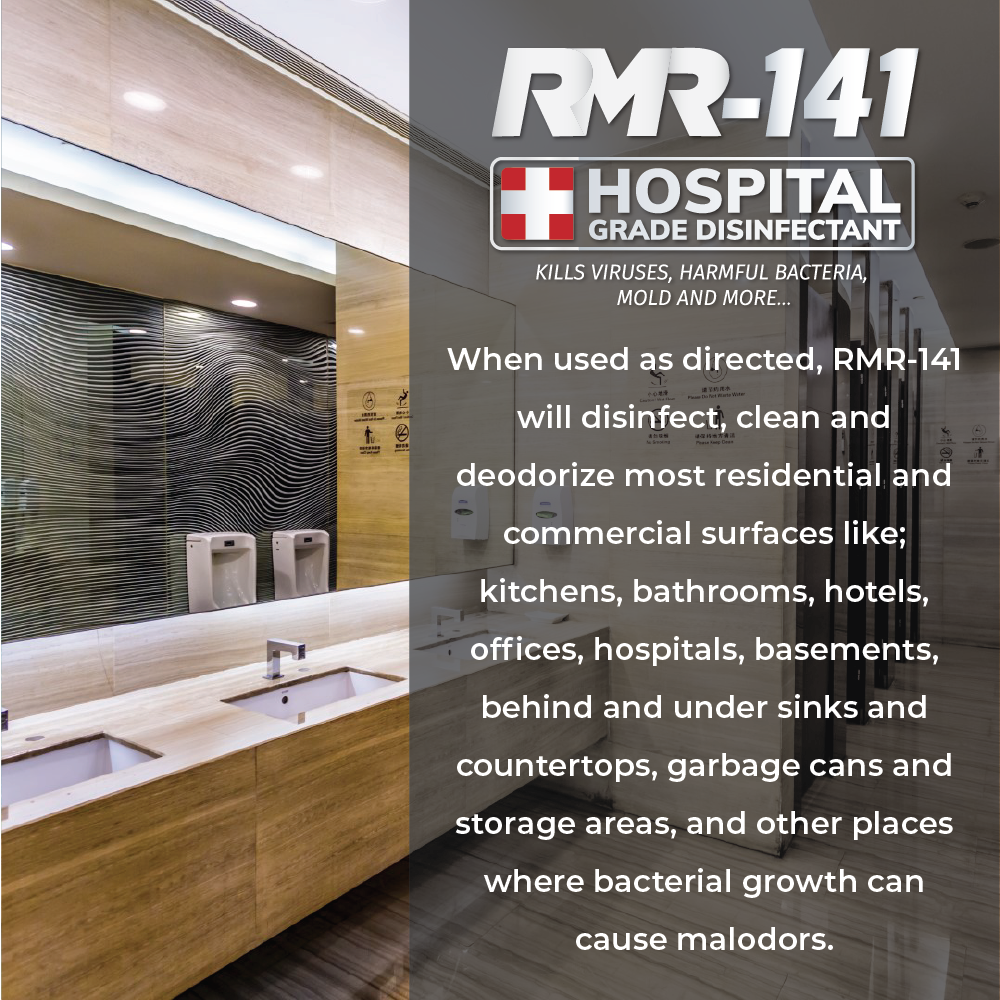 RMR-141 RTU Hospital Grade Hospital Grade Disinfectant Kills Over 140 Harmful Microbes including Human Coronavirus (1 x Glass Spray Bottle with 64 oz Refill)