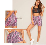 Womens Pink Snakeskin Print Spandex Shorts for an Active Lifestyle