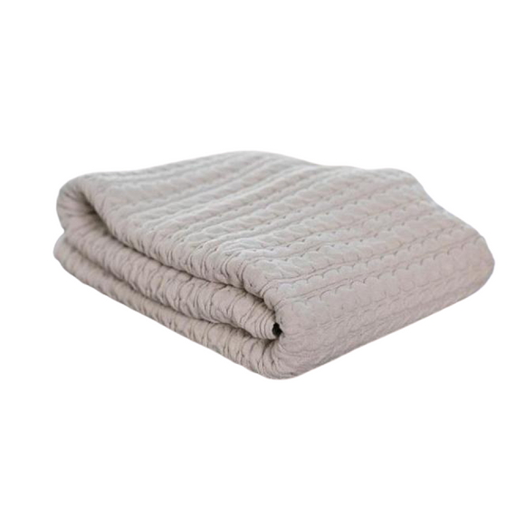 Cream Anti-Microbial Cable Knit Throw Blanket