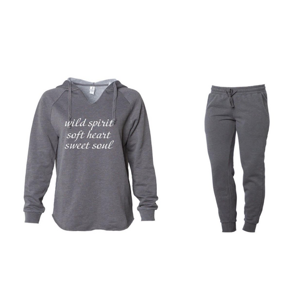 'Soft Heart' Grey Jogger Set
