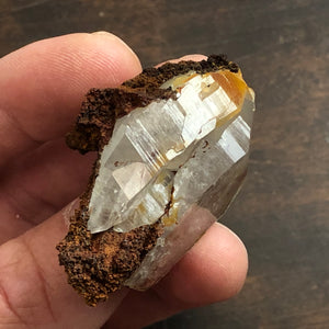 Twin Arkimer Quartz Crystal Point Oddity w/ Hematite