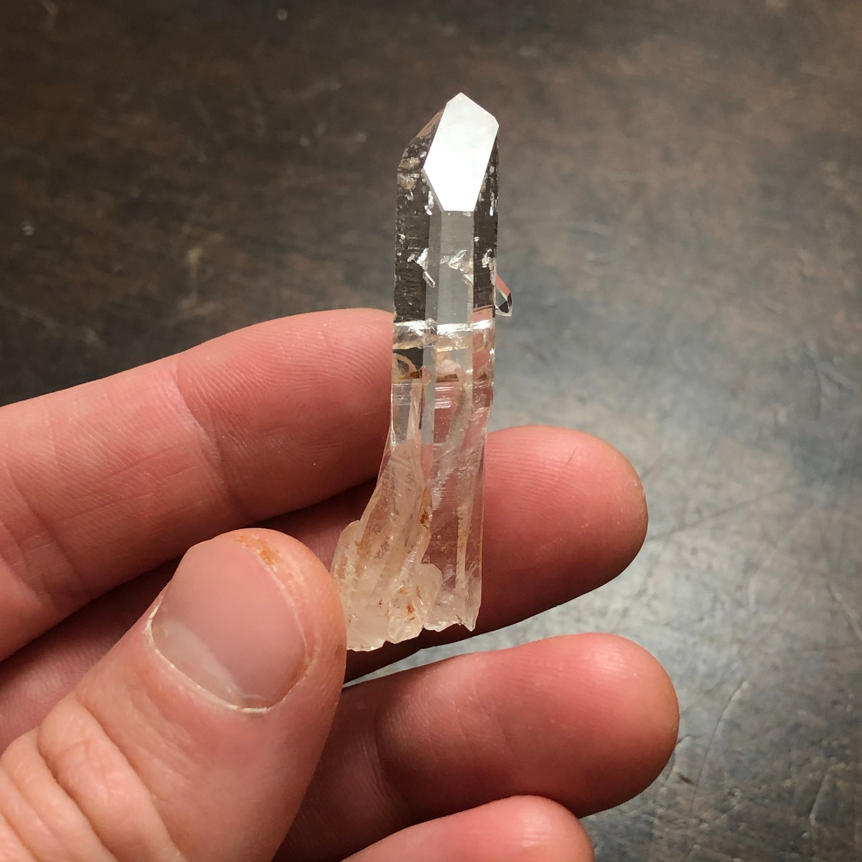 Optical Quartz Crystal Point , AAA w/ crystal barnacles