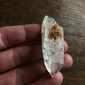 Double Terminated Tabby Quartz Crystal Point w/ barnacle crystals