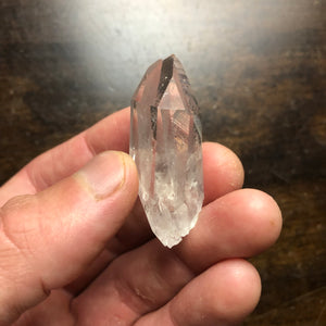 Rare Phantom Twin Tabby Quartz Crystal Point w/ Growth Etchings