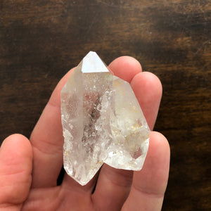 Twin DT Quartz Crystal Point w/ etchings