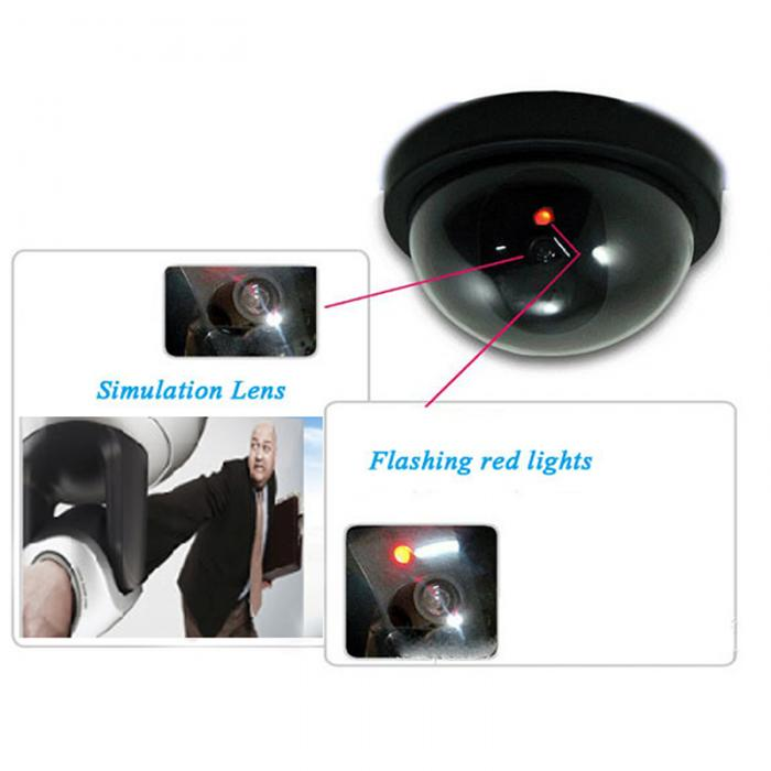 Fake Video Surveillance Dome Camera with Flashing Red LED Light