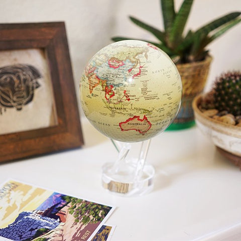 "4.5"" Mova Globe Antique (Beige) - Seaton Gifts"