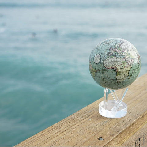"4.5"" Mova Globe Antique Cassini (Terrestial Green) - Seaton Gifts"