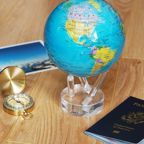 "4.5"" Mova Globe Blue Political - Seaton Gifts"