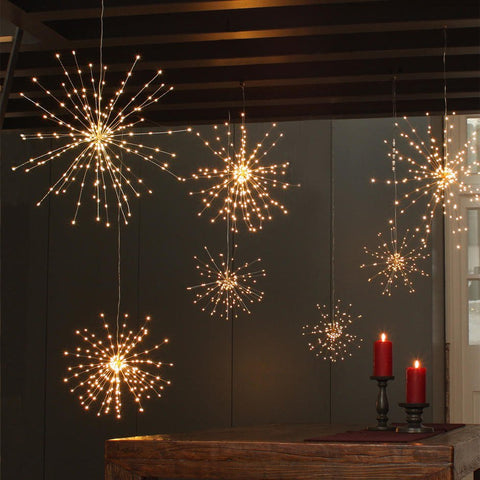 Copper Hanging Starburst Light (Mains Operated) - Seaton Gifts