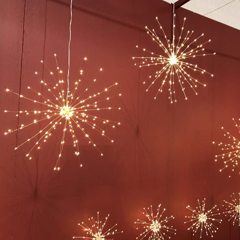 Copper Hanging Starburst Light (Battery Operated)