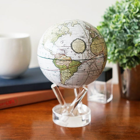 "4.5"" Mova Globe Antique Cassini (Terrestrial White) - Seaton Gifts"