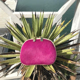 Real Leather and Cow Hair Coin Purse/Mini Clutch