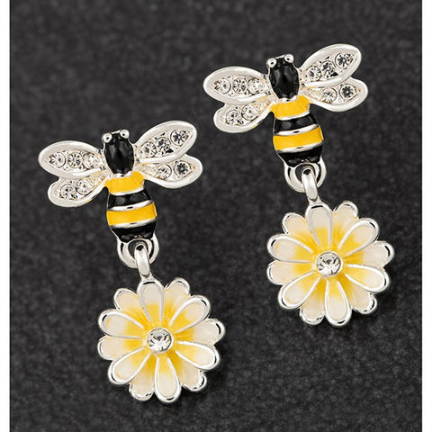 Silver Plated Hand Painted Bee Lemon Earrings