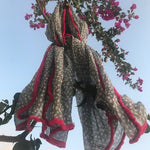 Dotty Scarf with Fuchsia Fringe - 100% Cotton - Seaton Gifts