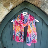 Parrot Scarf with Pom Pom Edging - Seaton Gifts