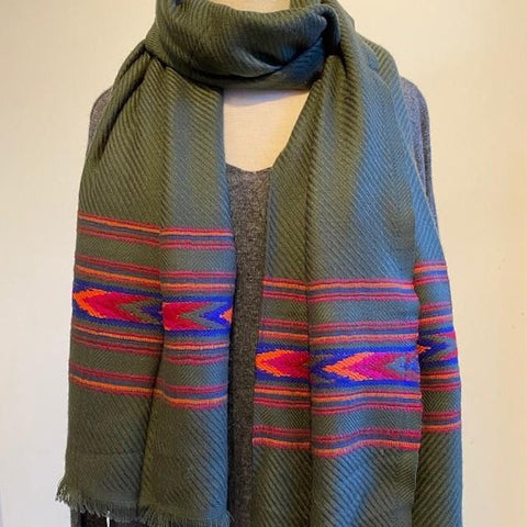 Grey Embroidered Chevron Scarf