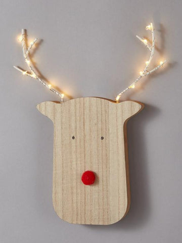 Wooden Rudolph Head with Warm White LED Antlers
